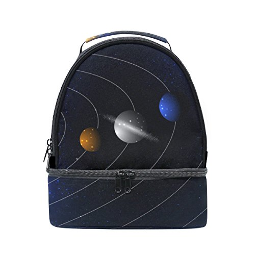 4cdc05c1d51 LORVIES Stars And Parade Of Planets Lunch Bag Dual Deck Insulated Lunch  Cooler Tote Bag Adjustable