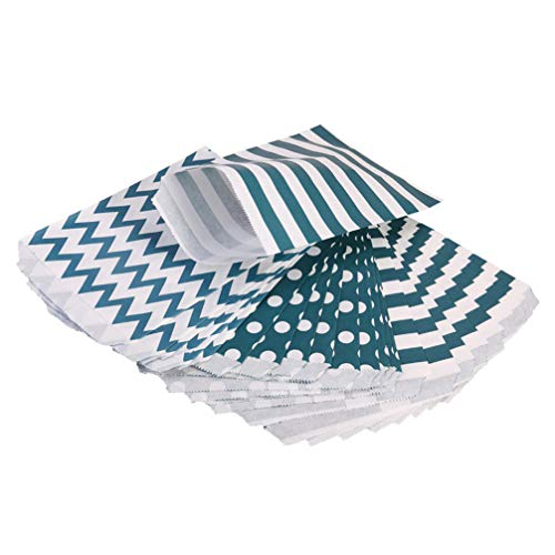 STOBOK 24pcs Candy Gift Paper Bags Container Treat Sacks Chevron Stripe Polka Dot Favor Bags Cookie Food Snacks for Christmas Haliday Birthday Party Supplies Favors (Navy Green)