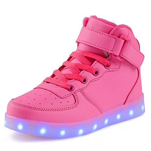 Leuchtende Rosa Aufladen Blinkschuhe Kinder Sneaker Damen Herren Farben Leuchtschuhe Sport Licht FLARUT USB up 7 Schuhe Light LED Turnschuhe zpwU8x