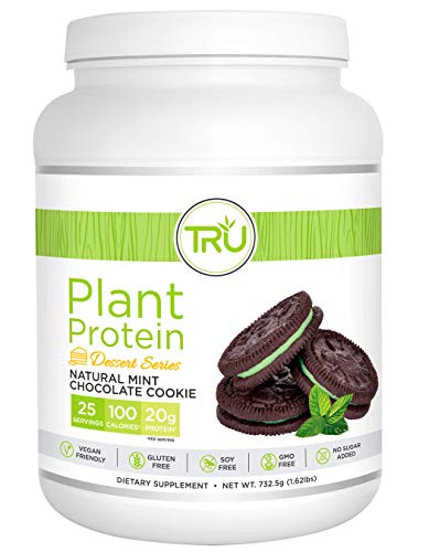 TRU Plant Based Protein Powder, Natural Flavor, Vegan & Keto Friendly, No Artificial Sweeteners, No Dairy, No Soy, 25 Servings (Mint Chocolate Chip Cookie)