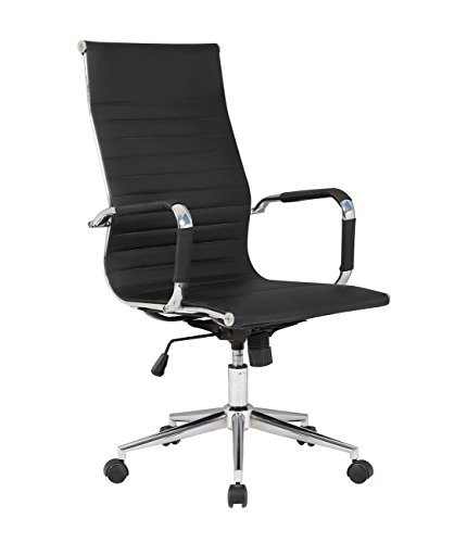 Belleze Modern High-Back Ribbed Upholstered Conference Office Chair, Black