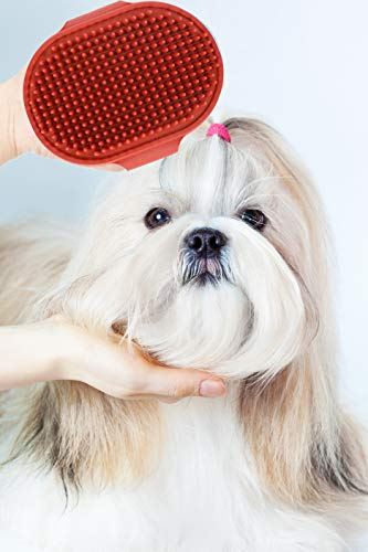 Pets First Large Rubber Pet Curry Comb for Smooth Shiny Fur | Flexible Bristles for Comfortable Grooming - Adjustable for Any Size - Compact and Ergonomic Design