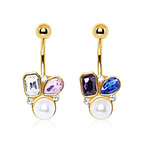 Covet Jewelry Gold Plated Art of Brilliance Gem and Pearl Drop Navel Ring (14 GA, Length: 3/8, Black/Purple) ()
