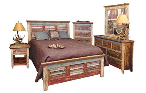 Ls Set Bedroom Set - King Size Cabana Multi Colored Louvered Bedroom Set