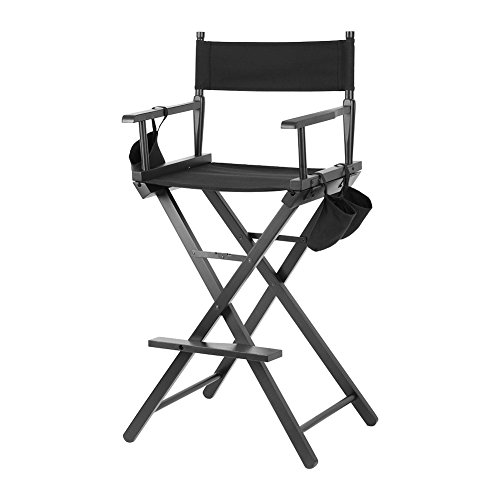 Foldable Tall Director Chair, Collapsible Bar Height Makeup Artist Chair with Side Cup Holder, Storage Bag and Footrest