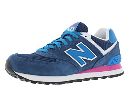 New Balance Women's 574 Classic Running Shoe, Size: 9 Width: B Color: Blue/Pink Glo/White