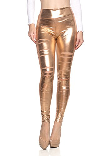 J2 Love Women's Faux Leather Ripped Legging, Small, Rose Gold