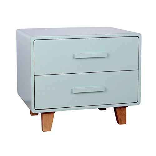 Contemporary Modern Wood 2 Drawer Nightstand End Table with Titled Legs - Includes Modhaus Living Pen (Aqua)