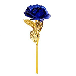Onerbuy Creative 24K Gold Foil Rose Flower Full Blossom Presents, Romantic Gift for Her with Box, Handcrafted & Love Last Forever 115