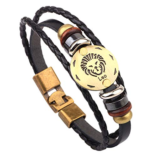 CLY Jewelry Multi-Layer Leather Braided Wrap Bracelet Design of Copper Horoscope Leo Black Leather Clasp Wrap Bracelet Friendship Bracelet Gift for Women Men Birthday