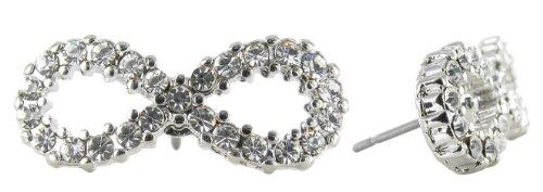 Small Infinity Symbol Lemniscate Rhinestone Stud Earrings - Clear Crystals