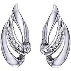 Round Cut White Natural Diamond Teardrop Swirl Drop Earrings In 10K Solid Gold (1/10 Ct)
