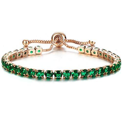 Baoqin Adjustable Chain Bracelet for Women,Cubic Zirconia Rose Gold Gift Bracelet of Luxury Shining Jewelry (Green)
