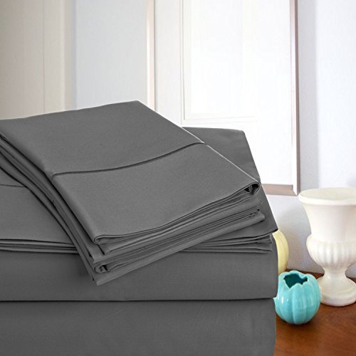 Addy Home Fashions 800-Thread Count Egyptian Cotton Ultra Soft Queen Bed Sheet Set, Charcoal