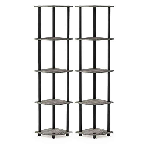 Furinno 2-99811GYW Turn-N-Tube 5 Tier Corner Display Rack 2 Pack, French Oak Grey/Black