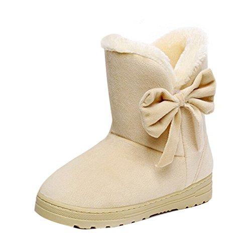 außergewöhnliche Farbpalette größter Rabatt Weg sparen Minetom Damen Stiefeletten Mit Schleife Winterstiefel Warm Winter Boots  Klassisch Snow Schuhe