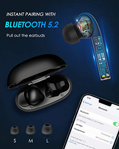 True Wireless Earbuds, ISENPENK Wireless Headphones Bluetooth V5.2 EDR with Microphones, Wireless Earphones in ear with LCD Display Volume Touch Control Voice Prompts Type-C Charging Case - Black