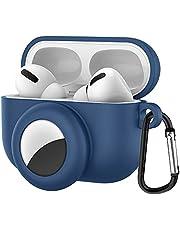 LOVONLIVE 2 in 1 Airpods Pro en Airtag Case Cover Handriem Siliconen Beschermhoes Cover Accessoires Compatibel met Airpods Pro en Airtag voor Man Wonen Meisjes