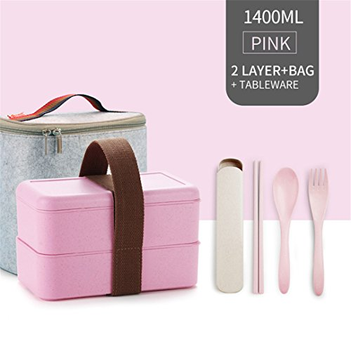 Microwave Lunch Box For Kids Food Storage Container Japanese Wheat Straw Leakproof Bento Portable School Picnic Set Rectangle Pink 2 - Metal Lunch Box Transformer