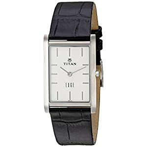 Titan Men's 'Edge' Quartz Stainless Steel and Leather Automatic Watch, Color:Black (Model: 1043SL05)