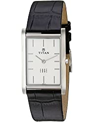 Titan Mens Edge Quartz Stainless Steel and Leather Watch, Color:Black (Model: 1043SL05)