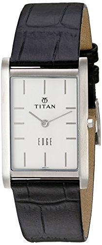 Titan Men's 'Edge' Quartz Stainless Steel and Leather Watch, Color:Black (Model: 1043SL05) (Titan Edge)