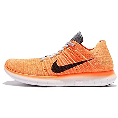 Nike Women's Free Running Motion Flyknit Shoes, Laser Orange/Gamma Blue/Cool Grey/Black - 6 B(M) US
