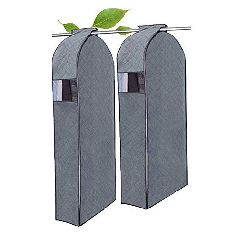 Garment Protector Bag,DiDaDi [2 Pack] Breathable Bamboo Charcoal Dustproof Moistureproof Dampproof Wardrobe Closet Storage Organizer Bag Suit Coat Dust Cover Clothes Hanging Bag with Clear Window -[L]