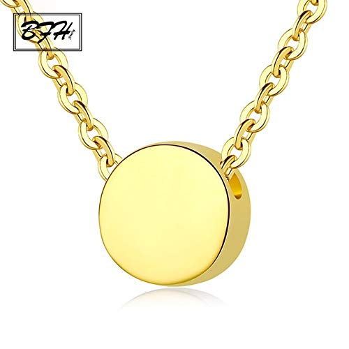 Metal Color: Silver Davitu New Fashion Charm Rose Gold Round Necklace Pendants for Women Girl Wedding Party Silver Long Necklace Jewelry Gift Wholesale