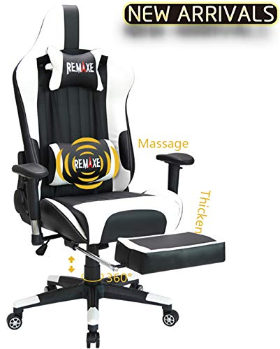 Large Size Gaming Chair High-Back PC Racing Chair Headrest Lumbar Massager Cushion Ergonomic Swivel PC Racing Chair with Retractable Footrest,PU Leather Executive Home Computer Chair(Black/White) ()