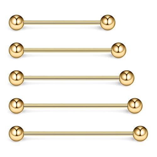 Ruifan 5PCS 16 Gauge Mix Sizes Industrial Barbell Cartilage Earring Body Piercing Jewelry 28mm 32mm 35mm 38mm 40mm - -