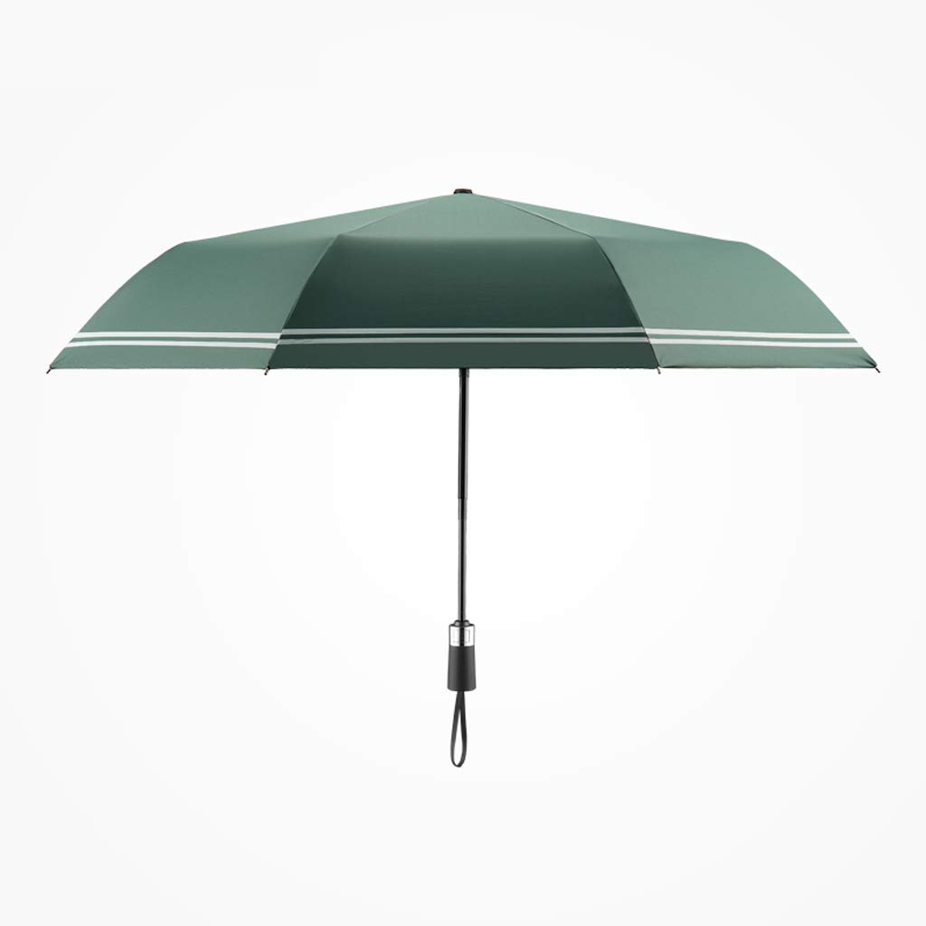 JSFQ Automatic Umbrellas Household Folding Umbrellas Men's Creative Striped Umbrellas Women's Umbrellas Four Colors (Color : Green)
