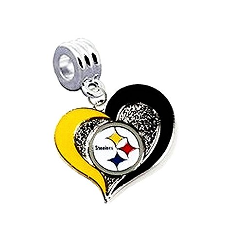 Heavens Jewelry PITTSBURGH STEELERS FOOTBALL TEAM HEART CHARM SLIDER PENDANT ADD TO YOUR NECKLACE EUROPEAN BRACELET DIY PROJECTS ETC
