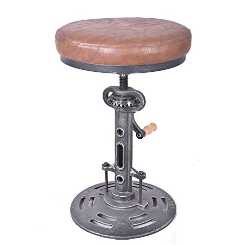 (Topower American Antique Industrial DIY Crank Stool Cast Iron Base Bar Stool Design Metal Adjustable Height Bar Chair PU Seat Surface)