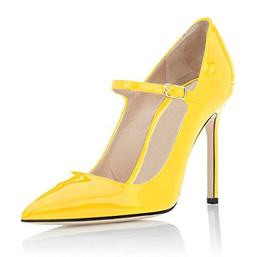 für für Strap Jäten Soireelady von Gericht Schuhe Pumps Dress Damen Mary 1Yellow Party spitzer 10cm Zehenstiletto Jane Wfy7OWFS