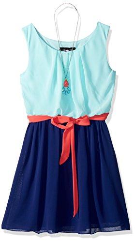 Amy Byer Girls' Big' Sleeveless Blouson Dress, Mint/Navy/Coral