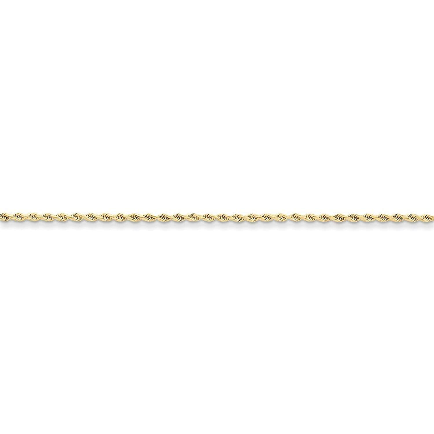 """10K Yellow Gold 1.75mm Faceted-Cut Rope Chain Anklet, 9"""""""