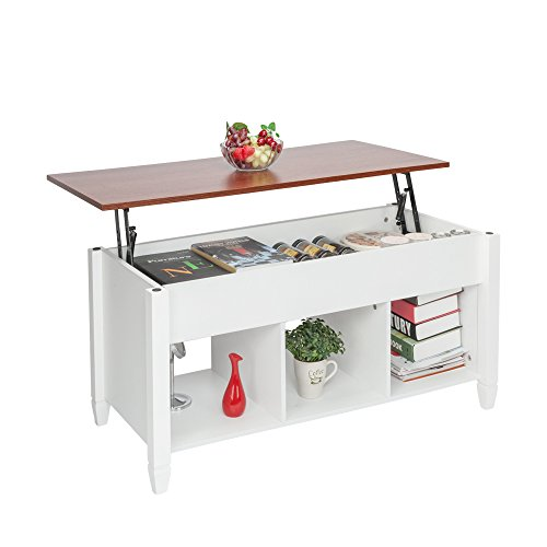 HomVent Lift-up Top Coffee Table,Wood & Metal End Table,Hidden Storage and Lift Tabletop Dining Table,Computer Table,Side Table,Living Room Furniture Tea Table E1 Board & Iron Modern Furniture,White