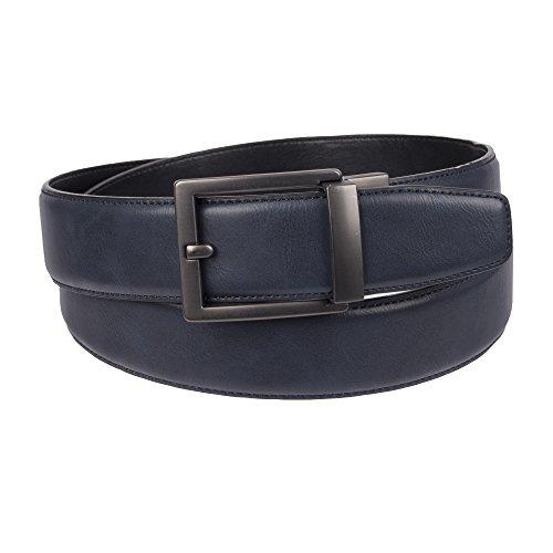 Four Belt - Weatherproof Men's Adjustable Comfort Fit Trackless Slide Belt, Navy/Gunmetal Buckle, X-Large (44-46)