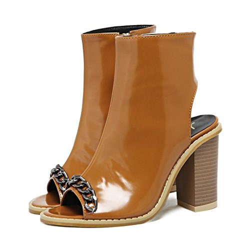 bouche Femmes chaussures Cool printemps mxx poissons chaîne amp; Bureau BROWN 36 Casual été mode sandales Carrière Confort Robe de bottes Talons LvYuan hauts vqwF5zgnHz