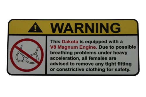 Dakota V8 Magnum No Bra, warning decal, sticker perfect for sale  Delivered anywhere in Canada