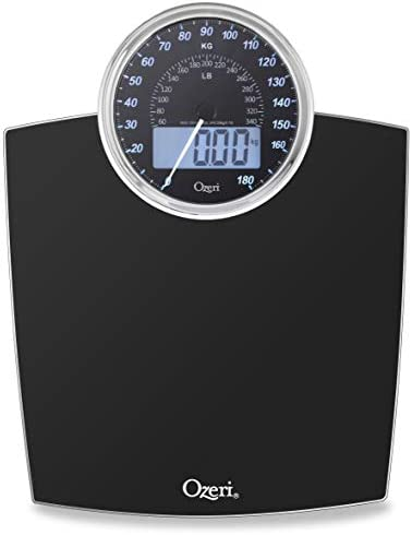 Ozeri Rev 400 lbs 180 kg Bathroom Scale with Electro-Mechanical Weight Dial and 50 gram Sensor Technology 0.1 lbs 0.05 kg , Black