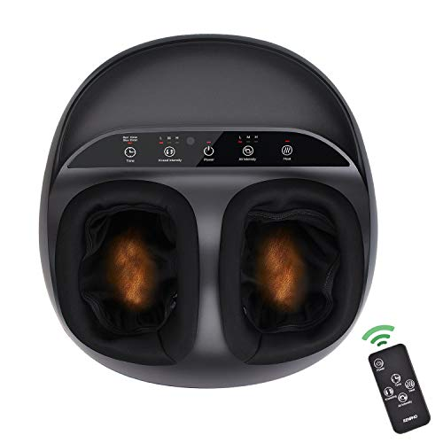 RENPHO Shiatsu Foot Massager Machine with Heat, Remote Control, Deep Kneading Therapy, Air Compression, Relieve Foot Pain from Plantar Fasciitis, Improve Blood Circulation, Fits feet up to men size 12