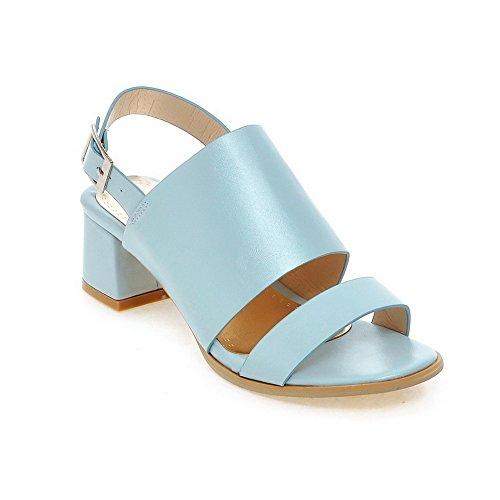 AllhqFashion Heels Solid Sandalen Zehe Blau Schnalle Damen PU Kitten Offene rwrvA