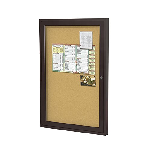 Ghent 36''x30''   1-Door indoor  Enclosed Bulletin Board, Shatter Resistant, with Lock, Bronze Aluminum Frame - Natural Cork (PB13630K)  Made in the USA by Ghent