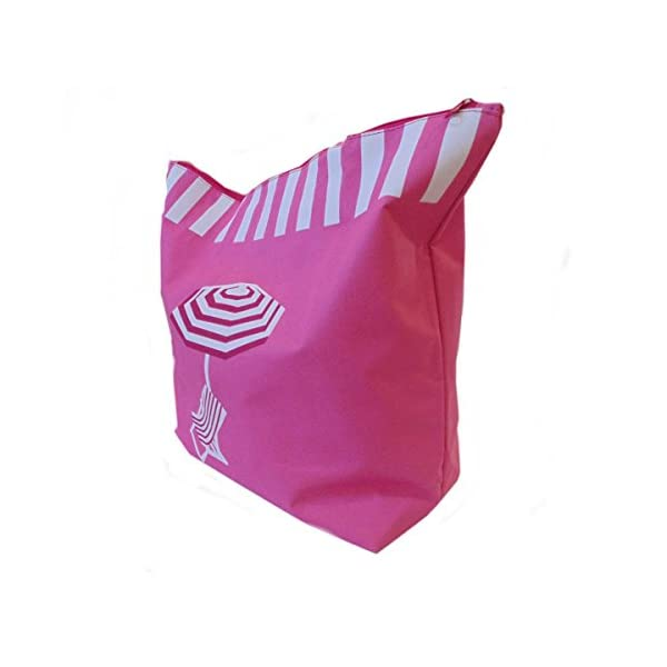 Ladies womens Large Summer Beach Tote Bag features deckchair and parasol (PINK) - more-bags