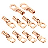 """Ampper Heavy Duty Copper Wire Lugs, UL Eyelets Ring Crimp Copper Terminal Connectors for Battery Cable Ends and More (8 Awg, 1/4"""" Ring, 10 Pcs)"""