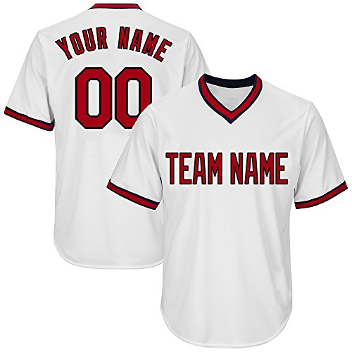 (Custom Women's White V-Neck Replica Stripe Baseball Jersey with Embroidered Team Name and Numbers,Red-Black Size L)