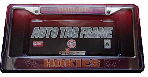 Rico Industries NCAA Virginia Tech Hokies Laser Cut Inlaid Standard Chrome License Plate Frame