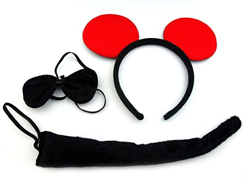 [Animal Halloween Party Costume Accessory Set for Dress Up: Headband, Tail, Bow Tie (Mickey Mouse)] (Mickey And Minnie Costumes Adults)